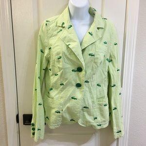 Bb Dakota Preppy Green Jacket Alligator Seersucker